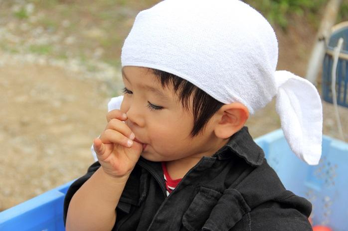 親指をしゃぶる幼児